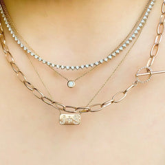 tennis necklace as a luxe layer