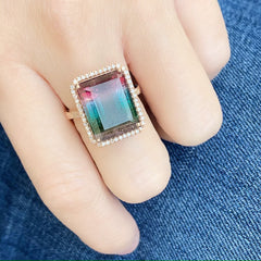 One of a Kind Multicolor Tourmaline Ring in Rose Gold