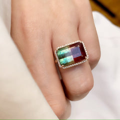 One of a Kind Green-Pink Tourmaline Ring in Rose Gold