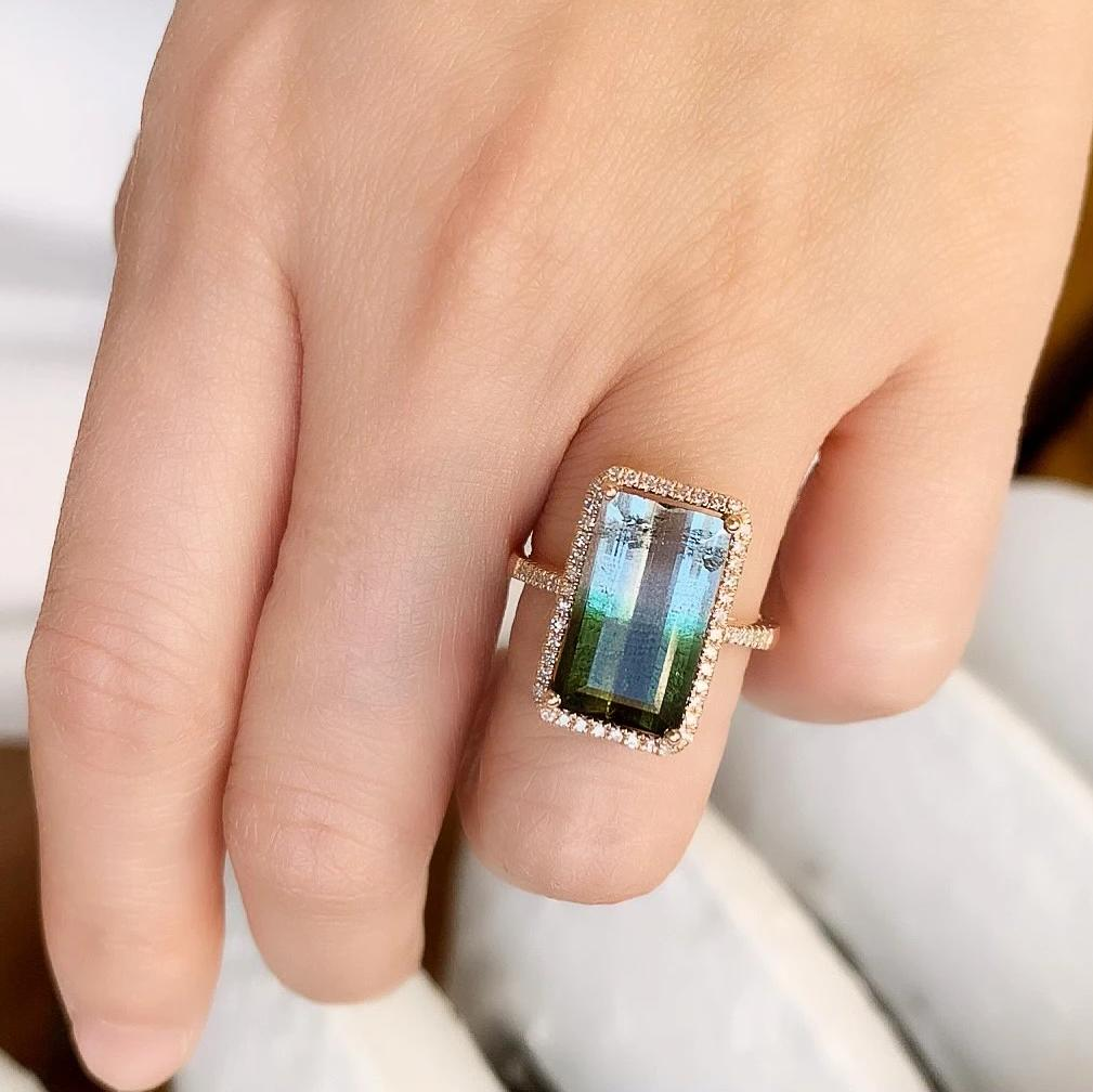 One of a Kind Green-Blue Tourmaline Ring in Rose Gold