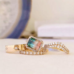 multi-toned tourmaline ring with layered liven rings