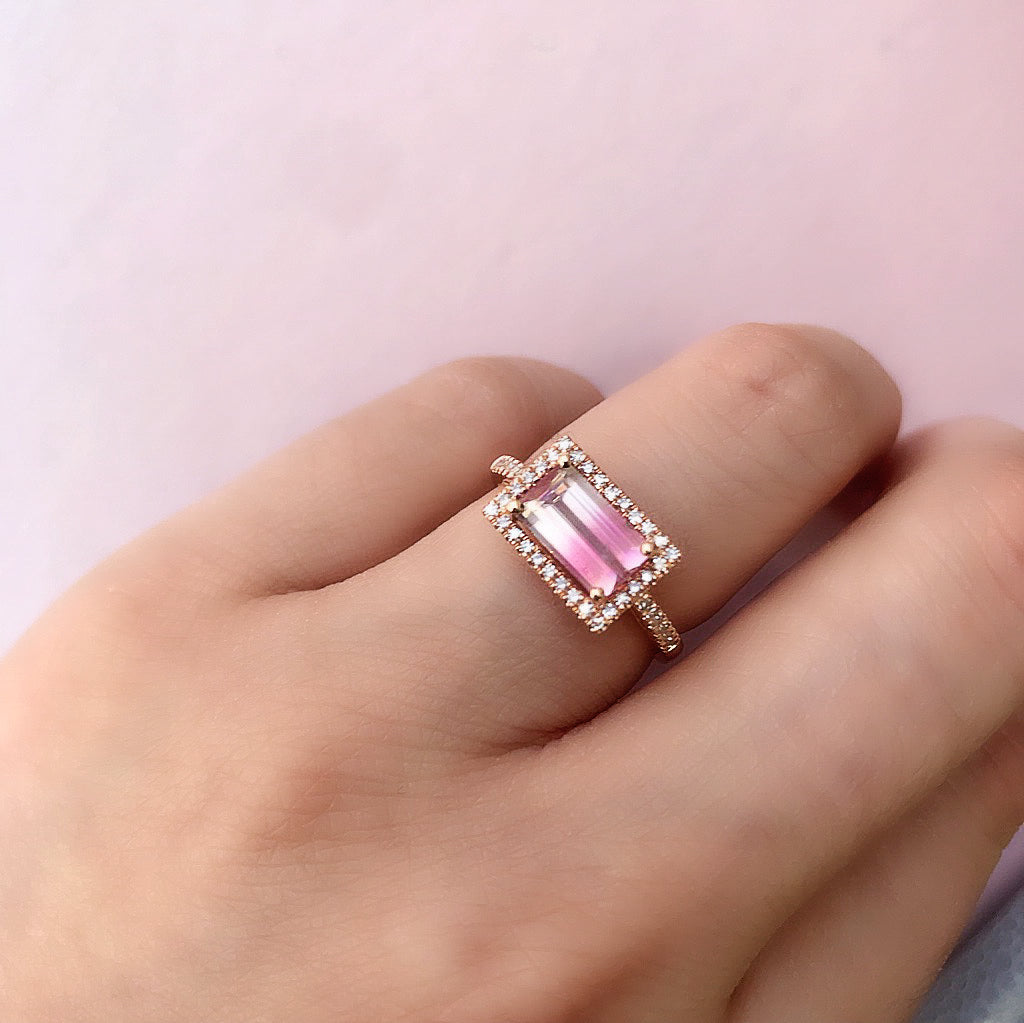 One of a Kind Bicolor Tourmaline Halo Ring in Rose Gold