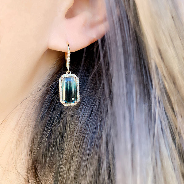 One of a Kind Ombre Tourmaline Leverback Earrings