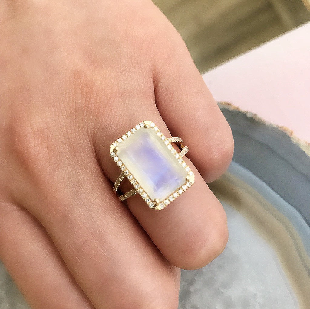 one of a kind emerald cut rainbow moonstone ring in yellow gold