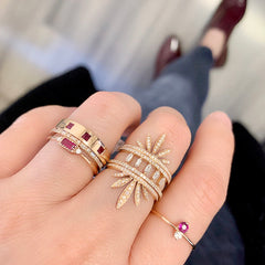 baguette band in rose gold as part of  a stack