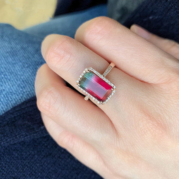 One of a Kind Tourmaline Ring in Rose Gold - Pink to Green