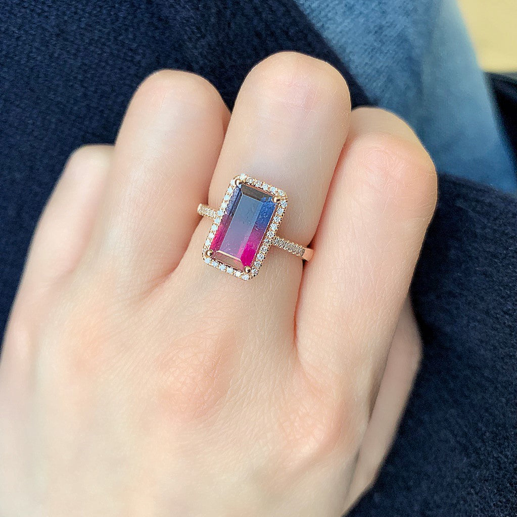 One of a Kind Tourmaline Ring in Rose Gold - Pink to Violet