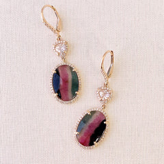 striped tourmaline, morganite and diamond earrings