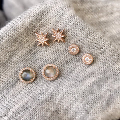 Petite diamond halo post earrings