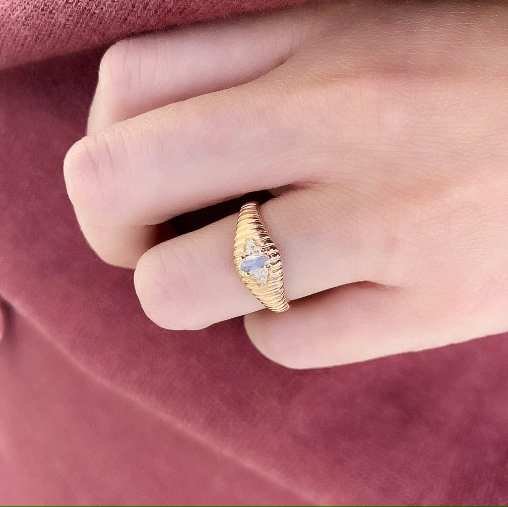 Ribbed Gold Band with Oval Rose Cut Center Stone