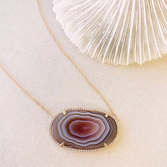 one of a kind agate slice necklace