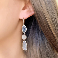 triple geode cascade earrings