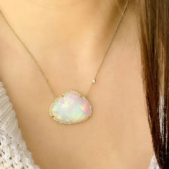 large one of a kind opal necklace