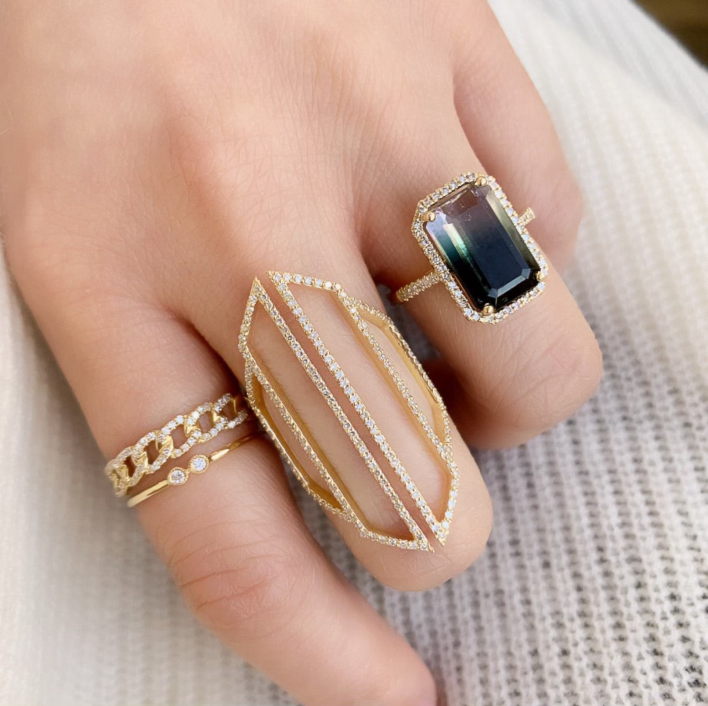 One of a Kind Ombre Bicolor Tourmaline Ring