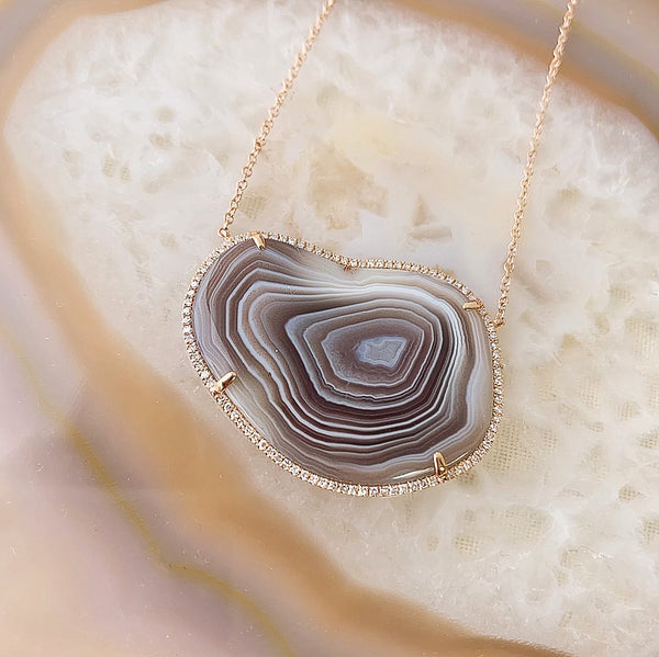 One of a Kind Organic Shaped Agate Necklace in 14k Rose Gold
