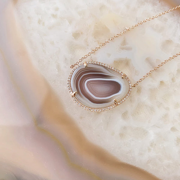 One of a Kind Agate Necklace in 14k Rose Gold