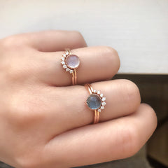 aura ring in rose gold and rainbow moonstone