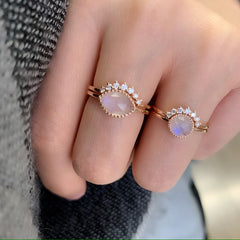 aura marquise ring set and aura round ring set.