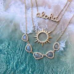 mini aloha script necklace
