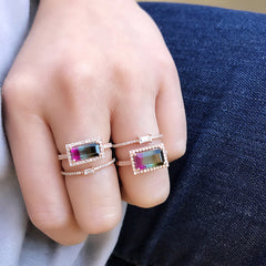baguette center bands with tourmaline one of a kind rings