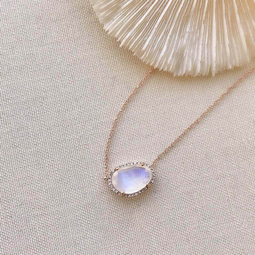One of a Kind Organic Shape Mini Rainbow Moonstone Necklace in Rose Gold