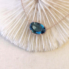One of a Kind Organic Shape Mini London Blue Topaz Necklace in Rose Gold