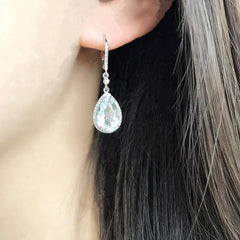 white topaz leverback cascade earrings
