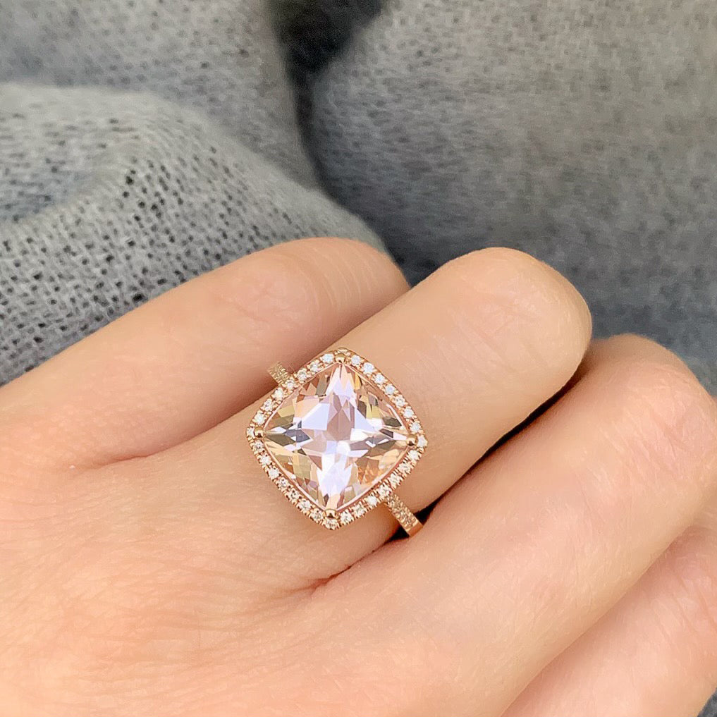 cushion cut morganite set in 14k gold with diamonds