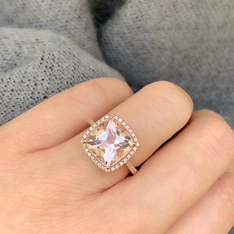 One of a Kind Cushion Cut Blush Morganite Ring