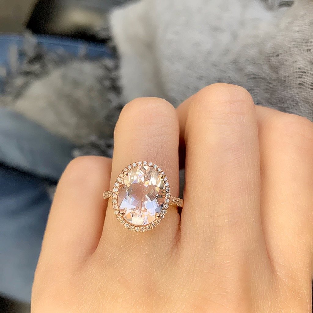 oval blush morganite ring in 14k rose gold with diamonds