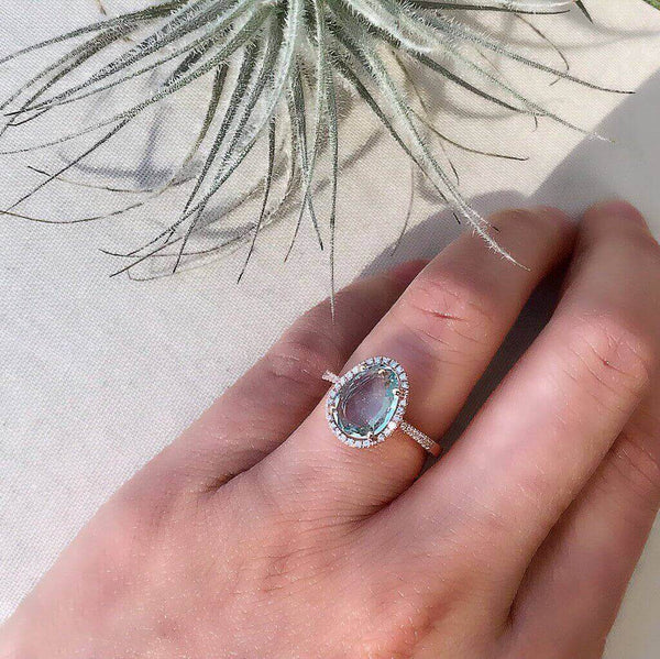 One of a Kind Organic Shape Aquamarine and Diamond Ring