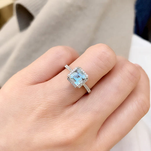 One of a Kind Small Asscher Cut Aquamarine Ring