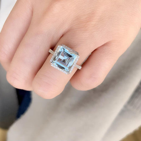 One of a Kind Asscher Cut Aquamarine Ring