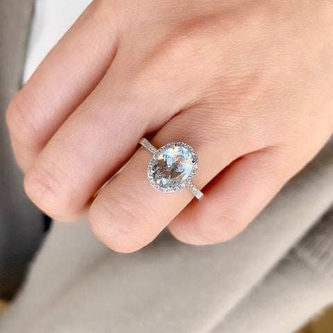 One of a Kind Oval Aquamarine Ring