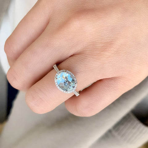 One of a Kind East-West Oval Aquamarine Ring