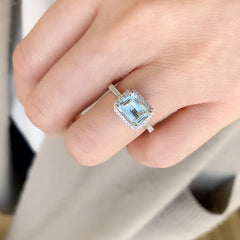 one of a kind aquamarine ring in white gold with diamonds