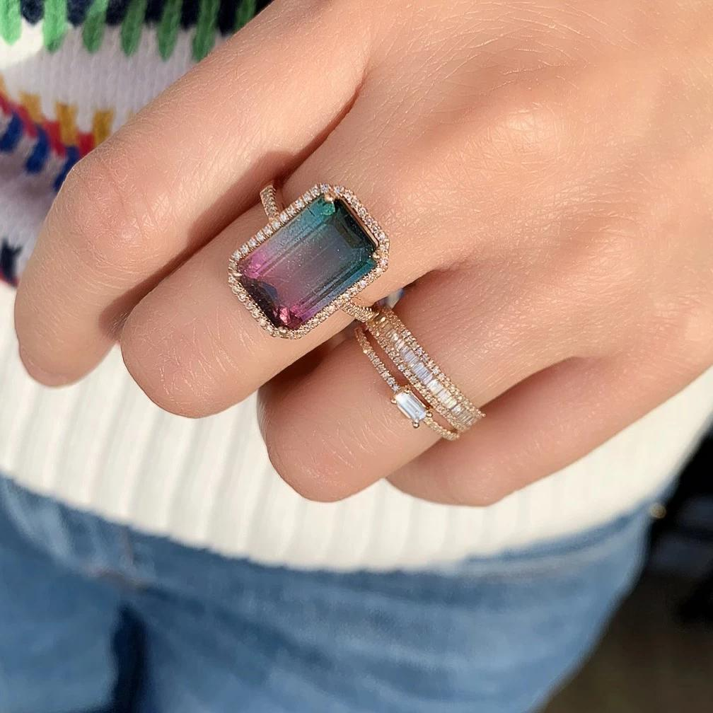 One of a Kind Ombre Tourmaline Ring in Rose Gold