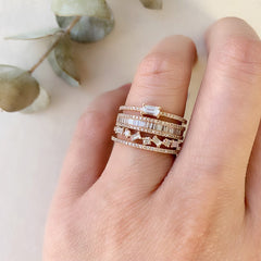 jumble diamond halfway band stacked with other liven rings
