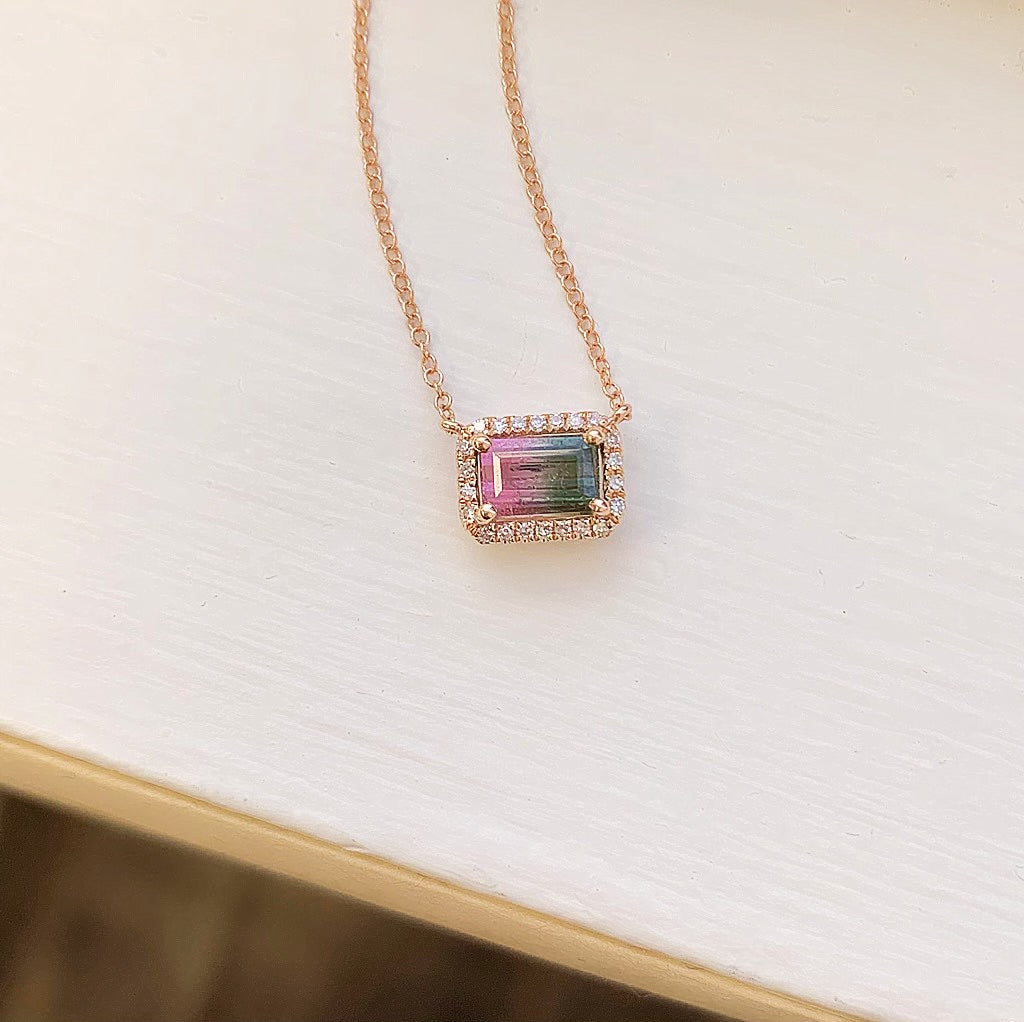 One of a Kind Petite Banded Tourmaline Necklace