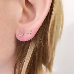 star and moon posts on ear