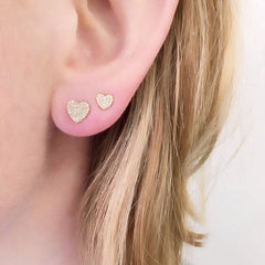 heart pave earrings on ear