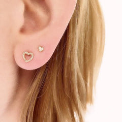 heart posts on ear