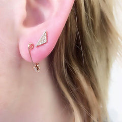 safety pin and elongated triangle on ear