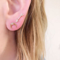 Crescent and arrow post earrings