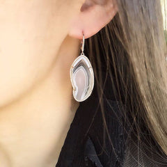 Agate earrings on ear