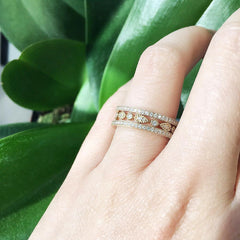 pear and round eternity band with milgrain