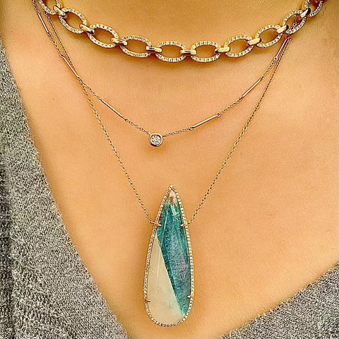 One of a Kind Teardrop Paraiba Tourmaline Necklace in Yellow Gold