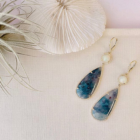 One of a Kind Paraiba Tourmaline and Opal Earrings in Yellow Gold