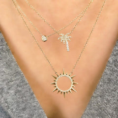 palm tree necklace in 14k gold and diamonds