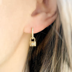 baguette diamond and gold petite padlock earring charms